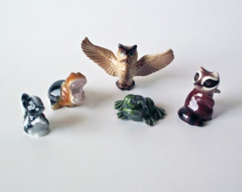 5 Vintage Bug House and Hagen Renaker Ceramic Miniature Animal Figurines