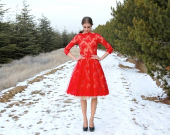 Red lace dress with tulle underskirt