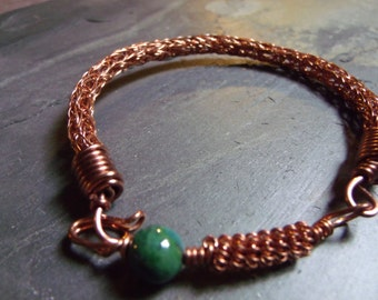Copper and Azurite Viking Knit Bracelet