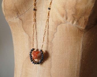 Carnelian and Hematite Link Chain Pendant