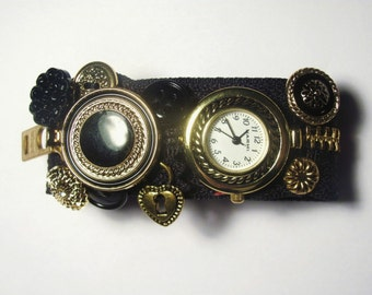 Black and Gold Zipper Watch Bracelet