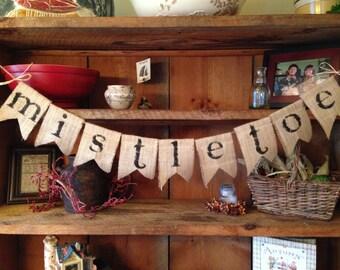 Burlap Mistletoe Bunting, Christmas Bunting, Burlap Bunting, Pennant, Garland