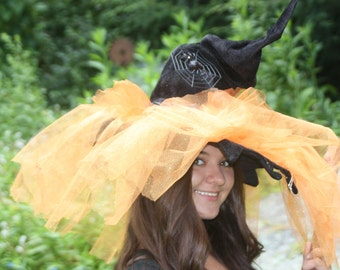 Witch Hat with Points, Orange Tule spider on Web