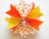 "Candy Corn Hair Bow - Halloween Hair Bow - Candy Corn Bow - 3.5"" Medium Spike Bow"