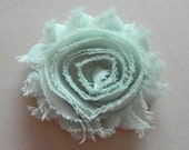 "Mint Hair Flower - Vintage Mint Flower Clip - 2 1/2"" Frayed Chiffon Flower - Shabby Chic Hair Flower - Hair Clip or Brooch - SOPHIE FLOWER"