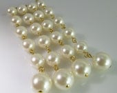 6 Vintage 83mm Faux Pearl Dangles Ch202