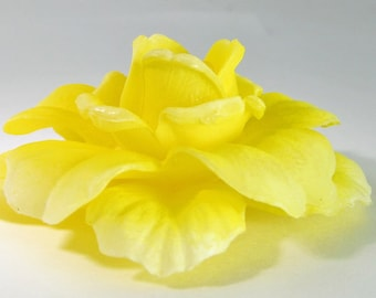 1 Vintage 55mm Yellow Rose Glue-On Cabochons Cb60