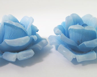 2 Vintage 35mm Blue Rose Glue-On Cabochons Cb64