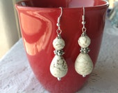 White Howlite Turquoise Dangle Earrings