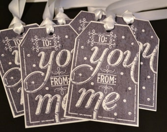 Chalkboard style Christmas Gift Tags - To You From Me