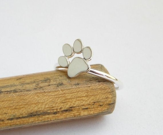 Paw Print Ring Sterling Silver Cat Or Dog Paw Ring Animal