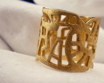 """Gold Plated Solid Sterling Silver Band Ring """"City"""" - FREE Shipping"""
