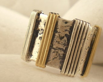 """Sterling Silver and K14 Gold Band Ring - """"Wire"""""""