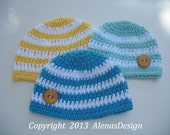Crochet Pattern 079 - Crochet Stripe Baby Hat - 0-3, 3-6, 6-24 months -Baby Boy - Baby Girl - Beanie Hat by AlenasDesign - Instant Download