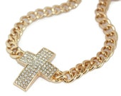 Chunky Chain Necklace // Gold Curb Chain Chunky Pave Cross Necklace