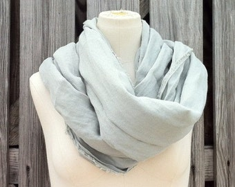 Flash SALE - MAD MAX Scarf - Celadon Long Linen Scarf - Neutral Color Scarf - Gray Scarf - Unisex - Linen Flax - Last One