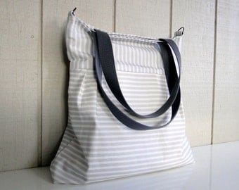 Diaper Bag Tote - MADE TO ORDER - Grey and White Stripes - Spoonflower Canvas - Large - Zipper, adjustable strap, tote handles