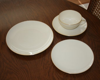 Vintage Lenox Gold Olympia Four Piece Set Cup Saucer Salad Plate Bread Butter Plate Cream Gold (Five Sets Available)