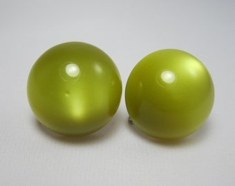 Moonglow Lucite - Vintage Earrings - Avocado Days - Screwbacks - Mod - Kitsch