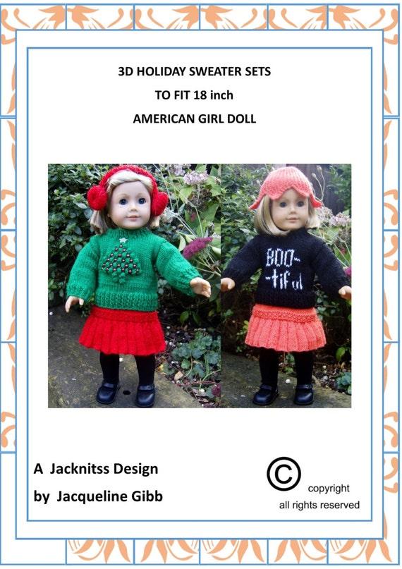 08 American Girl Doll. Holiday Sweater Set PDF Knitting Pattern