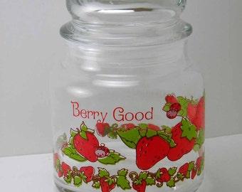 Vintage 1980 Strawberry Shortcake Glass Canister Storage Jar Glass Lid