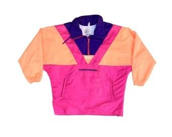 Awesome 90s Neon Jones Half-Zip Ski Jacket - L / XL