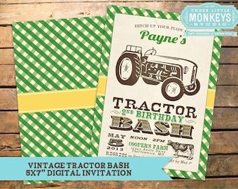 Vintage Tractor Bash Invitation