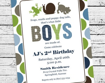 Frogs, Snails & Puppy Dog Tails Birthday Invitation
