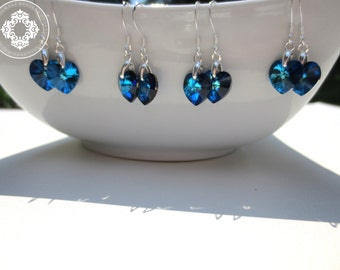 4 Bridal  Swarovski Crystal Earrings, wedding Earrings, bridal party, Personalized Bridal party gifts, by JewlesDesigns on Etsy