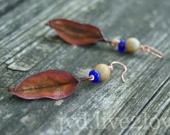 slim leaf earrings in copper with natural clay and recycled glass beads