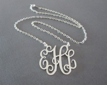 Sterling Silver Monogram Necklace - 3 different pendant sizes