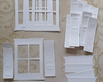 Memory Box Die Cuts White Grand Madison 4 Pane Window Frame plus Flower Boxes and Shutters
