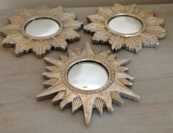 fabulous set of small starburst mirrors pale gold silver tone