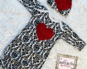 Baby BoutiqueDamask Layette  Red rosette  heart, Infant Gown and Hat set