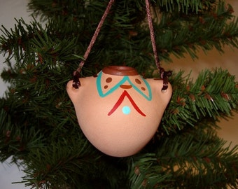Ornament,  ceramic ornament, Southwestern ornament, miniature Indian pot, Christmas ornament