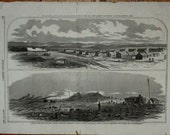 Rebel Winter Headquarters Centereville VA & Manassas Jct 2 Scenes, Woodcut from Harper's Weekly, March 1862, Civil War Print, 11x16.5""