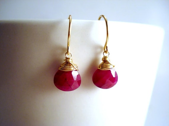 Juicy Red Ruby Earrings, Genuine Ruby Earrings, 14k Dainty Gold Earrings, Petite Gold Ruby Earrings, Wire Wrapped Gemstone Earrings