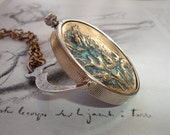 Tulips and Thistle Pendant Necklace, Vintage Brass Stampings, Vintage Coin Holder, Steampunk, Reversible, Art Nouveau