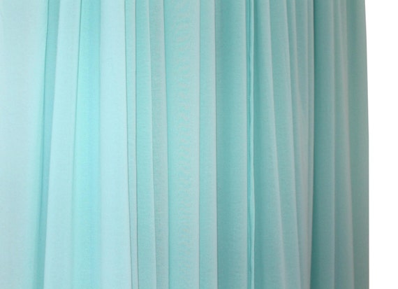 Turquoise sheer curtains CUSTOM LENGTH by BeautifullyLiving