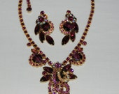 Vintage D&E Juliana Jewelry Set    Necklace Earrings     Purples and AB Crystals