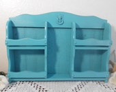 Beach Blue Organizer Rustic Aqua Turquoise Teal Upcycled Vintage Spice Shelf Shabby Chic Carved Wood Desktop Home Office Mail Sorter Decor