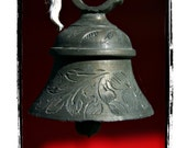 Blue Grey Hanging Copper Bell with a Black and Red Background Fine Greeting Card - jonahgilmore