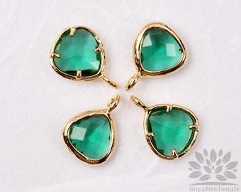 F100-00-G-EM// Gold Framed Emerald Faceted Mini Glass Stone Pendant, 2Pc
