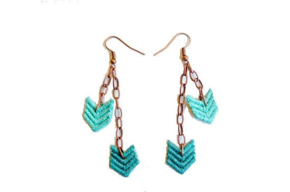Chevron Lace Earrings in Teal Green