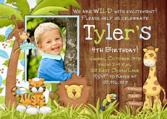 Jungle Birthday Invitation - Safari Invitation Zoo Invitation Boy Birthday Invite - Safari Birthday Printable Invitation