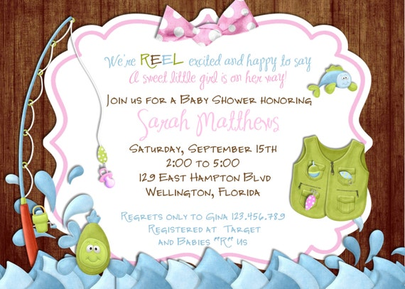 Fishing Girl Baby Shower Invitation -Fish and Rod - Printable Invite