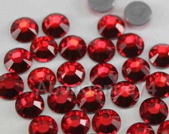 Swarovski Crystal 2028 Rhinestone Hotfix Flat backs, w Iron On Glue -  144pcs SS12 ( 3mm ) Light Siam