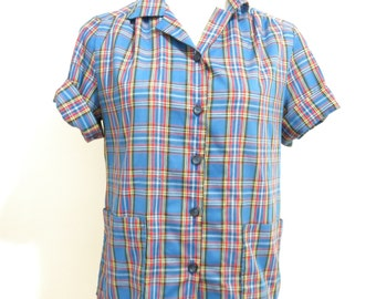 Vintage 1980's Blue Plaid Handmade Camper Button Down Shirt With Pockets