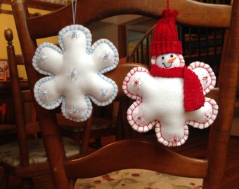 Pattern for Snowman Ornament and Snowflake Ornament