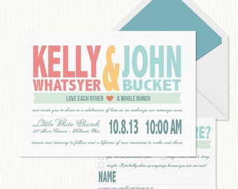 Colorful Wedding Invitation Set  PRINTABLE